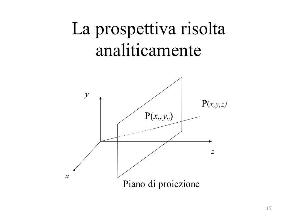 17 z x y P (x,y,z) P(x v,y v ) Piano di proiezione La prospettiva risolta analiticamente