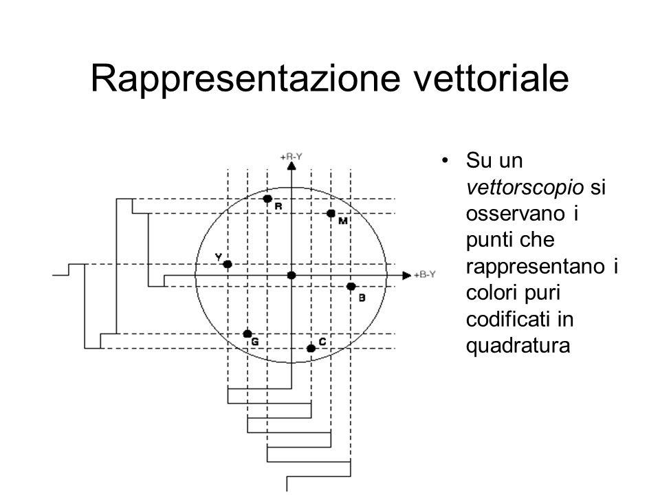 Rappresentazione vettoriale Su un vettorscopio si osservano i punti che rappresentano i colori puri codificati in quadratura