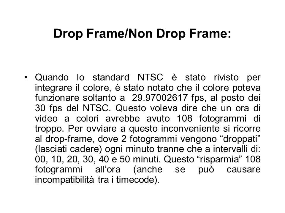 Drop Frame/Non Drop Frame: Quando lo standard NTSC è stato rivisto per integrare il colore, è stato notato che il colore poteva funzionare soltanto a