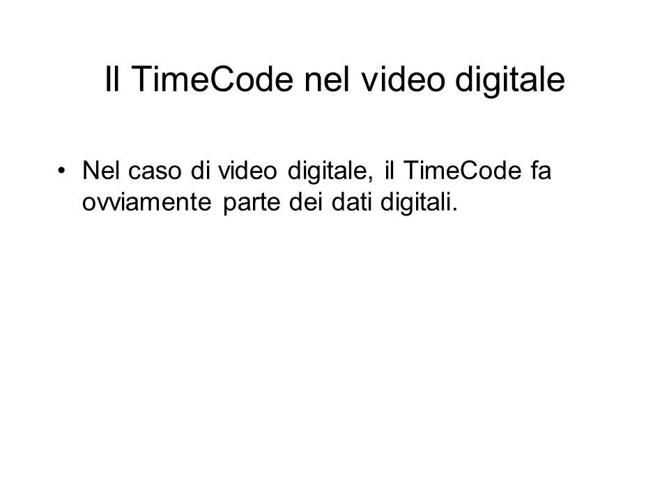 Il TimeCode nel video digitale Nel caso di video digitale, il TimeCode fa ovviamente parte dei dati digitali.