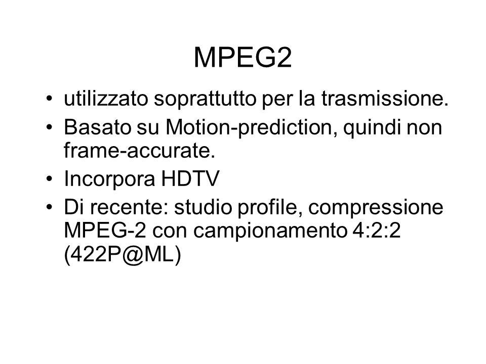 MPEG2 utilizzato soprattutto per la trasmissione. Basato su Motion-prediction, quindi non frame-accurate. Incorpora HDTV Di recente: studio profile, c