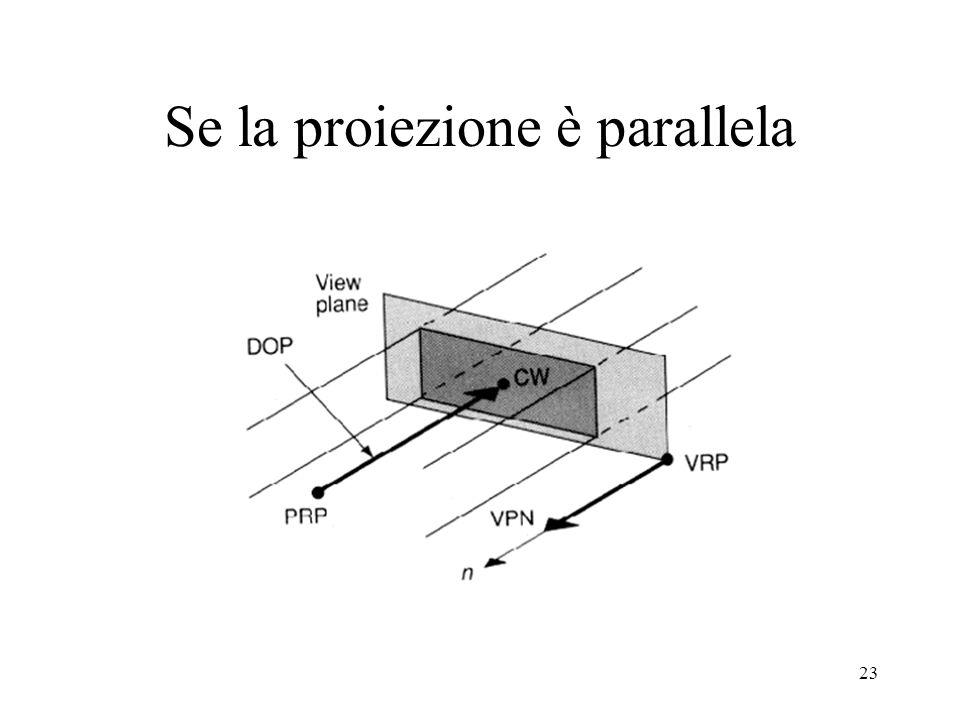 23 Se la proiezione è parallela