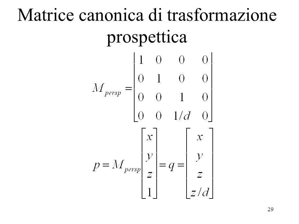 29 Matrice canonica di trasformazione prospettica