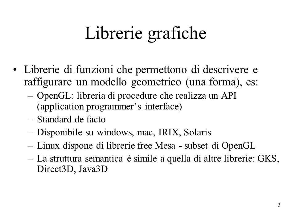 3 Librerie grafiche Librerie di funzioni che permettono di descrivere e raffigurare un modello geometrico (una forma), es: –OpenGL: libreria di proced