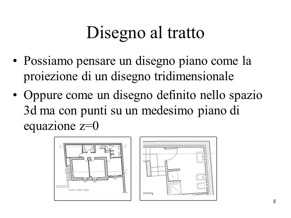 8 Disegno al tratto Possiamo pensare un disegno piano come la proiezione di un disegno tridimensionale Oppure come un disegno definito nello spazio 3d