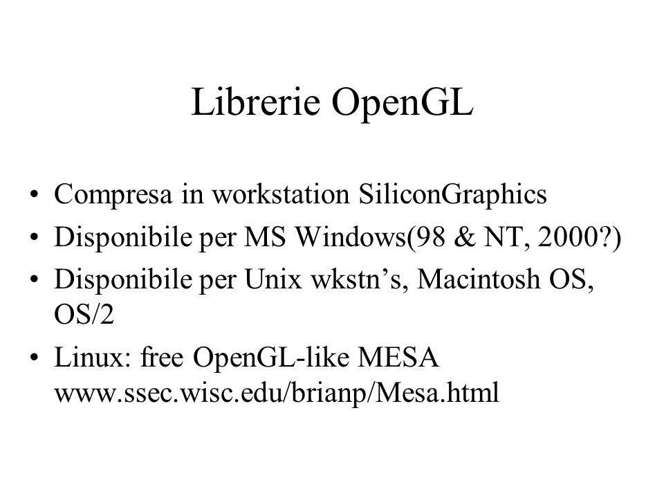 Librerie OpenGL Compresa in workstation SiliconGraphics Disponibile per MS Windows(98 & NT, 2000 ) Disponibile per Unix wkstns, Macintosh OS, OS/2 Linux: free OpenGL-like MESA www.ssec.wisc.edu/brianp/Mesa.html