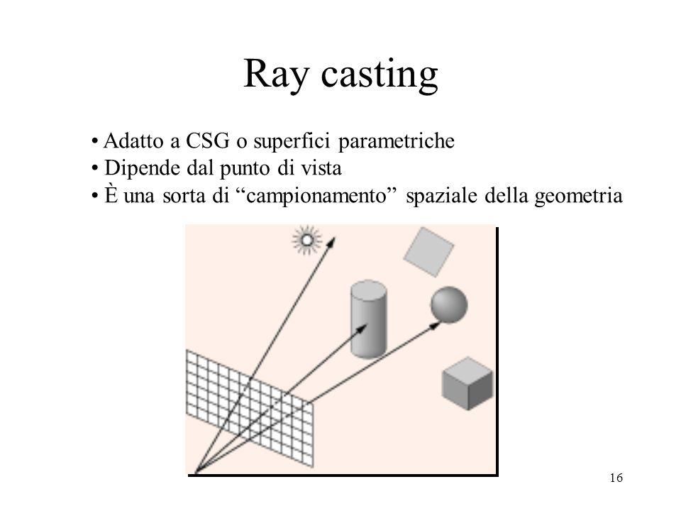 15 Suddivisione ricorsiva: Warnock Suddivisione ricorsiva (quad- tree) dello spazio immagine, fino al livello del singolo pixel Criteri di colorazione: –Un poligono circonda un quadrante –Un poligono interseca un quadrante –Un poligono è contenuto in un quadrante –Poligono e quadrante sono disgiunti