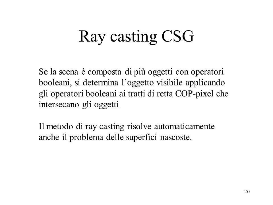 19 Ray casting CSG Testare le relazioni booleane: