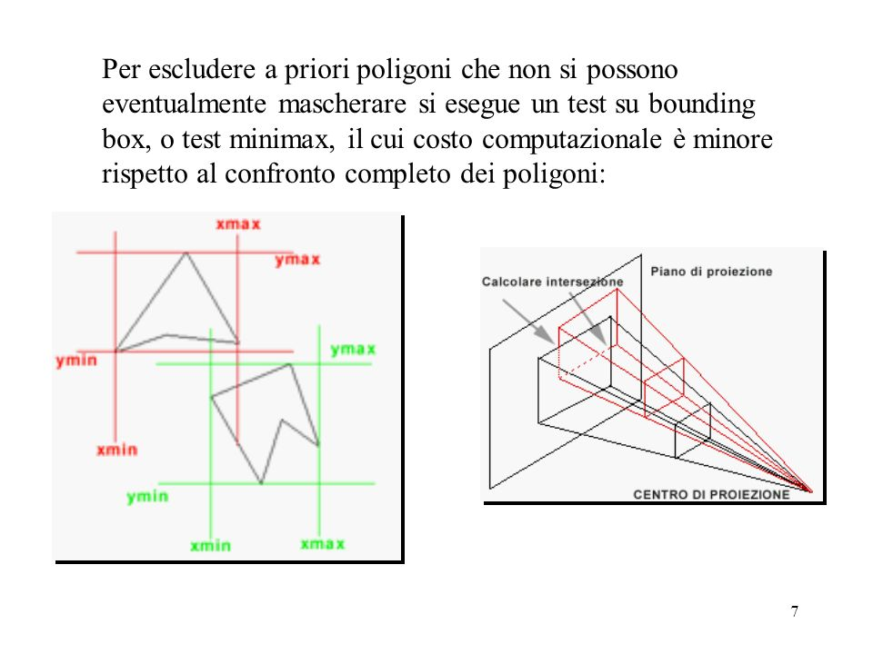 6 Per decidere la colinearità: Se è una proiezione parallela condizione necessaria e sufficiente è: x 1 =x 2 e y 1 =y 2 Se è una proiezione prospettica invece bisogna fare 4 divisioni: x 1 /z 1 = x 2 /z 2 y 1 /z 1 = y 2 /z 2 Per evitare la divisione si esegue il test prima di deformare lo spazio in prospettico (proiezione parallela)