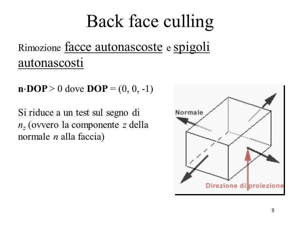 7 Per escludere a priori poligoni che non si possono eventualmente mascherare si esegue un test su bounding box, o test minimax, il cui costo computazionale è minore rispetto al confronto completo dei poligoni: