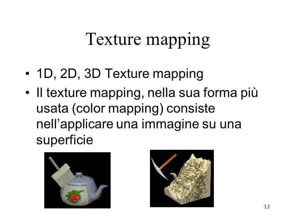 13 Texture mapping 1D, 2D, 3D Texture mapping Il texture mapping, nella sua forma più usata (color mapping) consiste nellapplicare una immagine su una