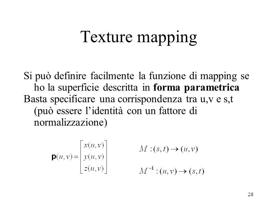 28 Si può definire facilmente la funzione di mapping se ho la superficie descritta in forma parametrica Basta specificare una corrispondenza tra u,v e