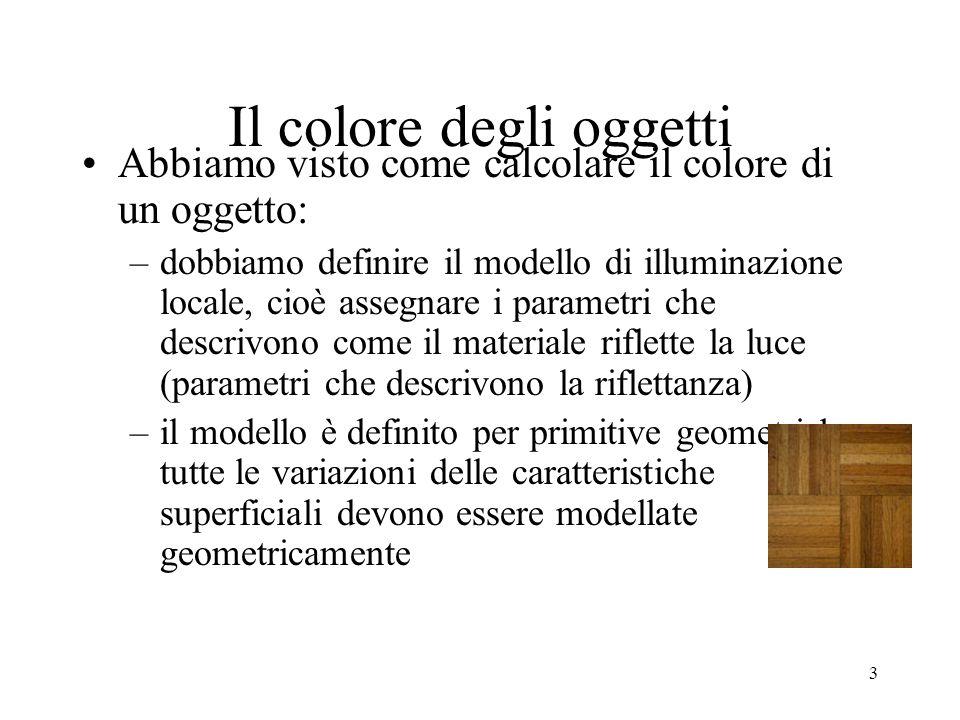 3 Il colore degli oggetti Abbiamo visto come calcolare il colore di un oggetto: –dobbiamo definire il modello di illuminazione locale, cioè assegnare