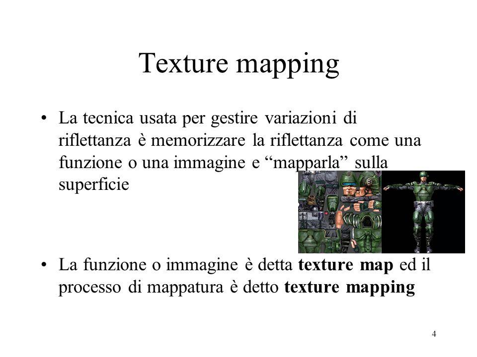 4 Texture mapping La tecnica usata per gestire variazioni di riflettanza è memorizzare la riflettanza come una funzione o una immagine e mapparla sull