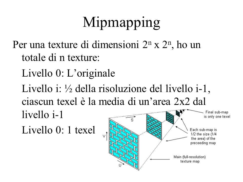 48 Mipmapping Per una texture di dimensioni 2 n x 2 n, ho un totale di n texture: Livello 0: Loriginale Livello i: ½ della risoluzione del livello i-1