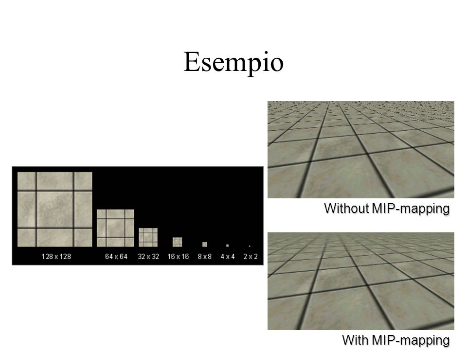 54 Esempio Without MIP-mapping With MIP-mapping