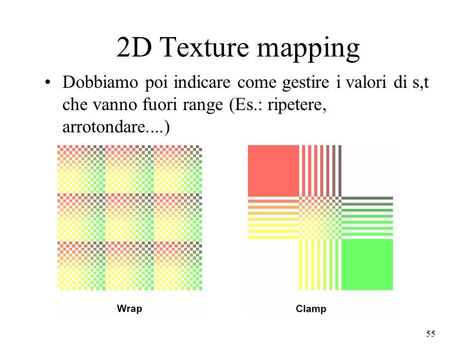 55 2D Texture mapping Dobbiamo poi indicare come gestire i valori di s,t che vanno fuori range (Es.: ripetere, arrotondare....)