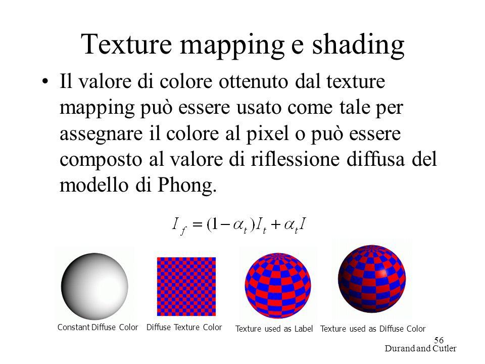 56 Texture mapping e shading Il valore di colore ottenuto dal texture mapping può essere usato come tale per assegnare il colore al pixel o può essere