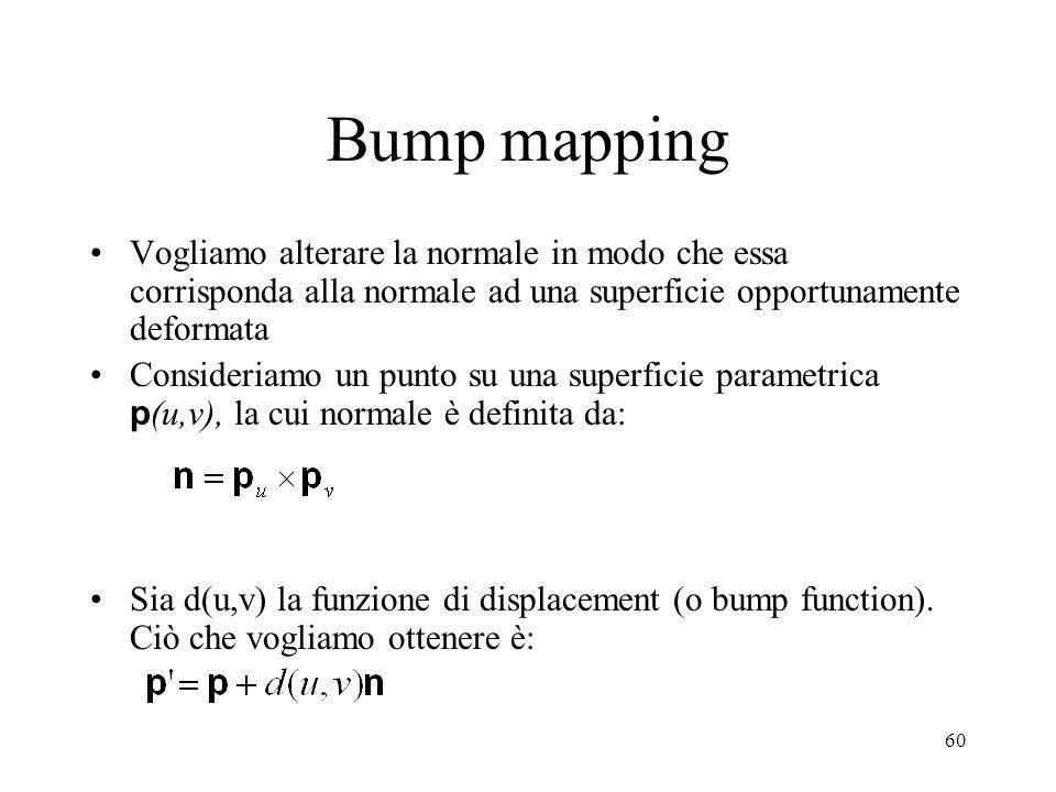 60 Bump mapping Vogliamo alterare la normale in modo che essa corrisponda alla normale ad una superficie opportunamente deformata Consideriamo un punt