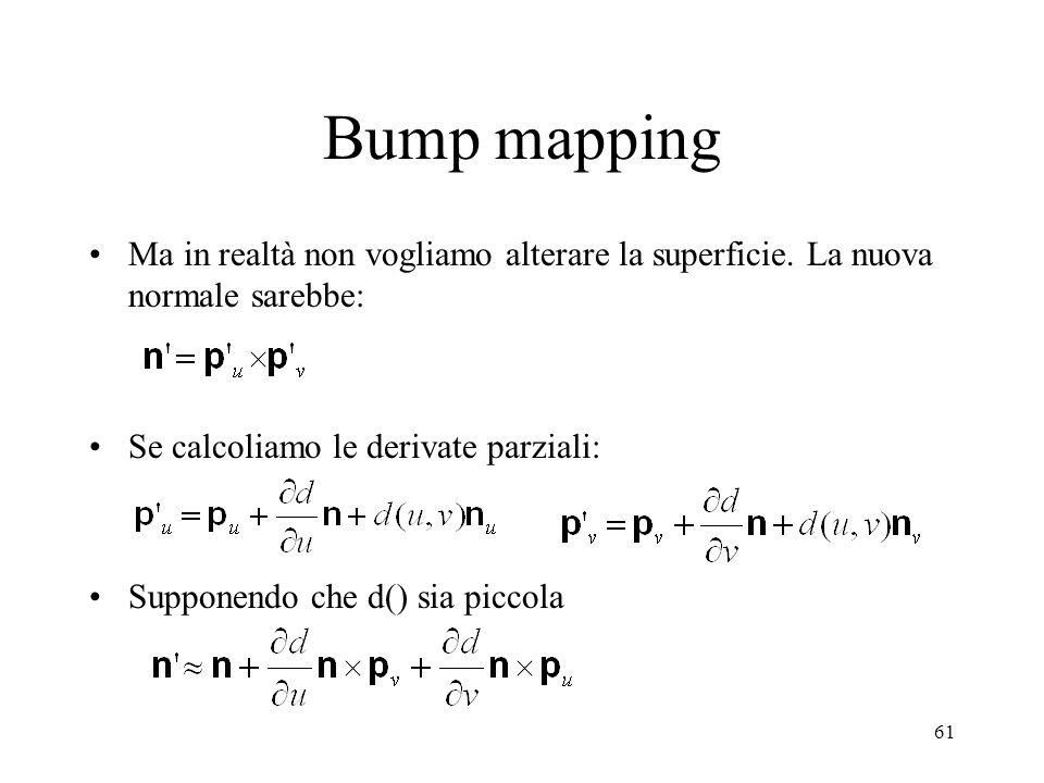 61 Bump mapping Ma in realtà non vogliamo alterare la superficie. La nuova normale sarebbe: Se calcoliamo le derivate parziali: Supponendo che d() sia