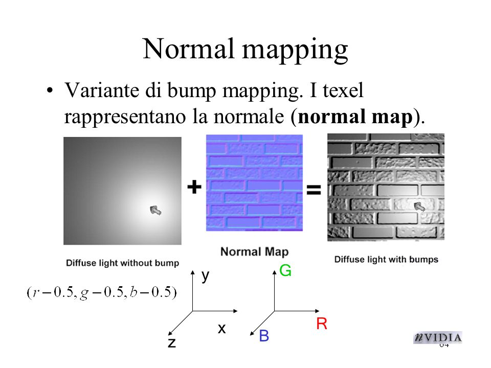 64 Normal mapping Variante di bump mapping.I texel rappresentano la normale (normal map).