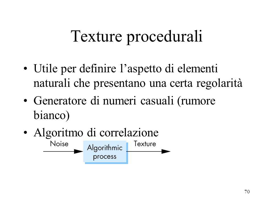 70 Texture procedurali Utile per definire laspetto di elementi naturali che presentano una certa regolarità Generatore di numeri casuali (rumore bianc