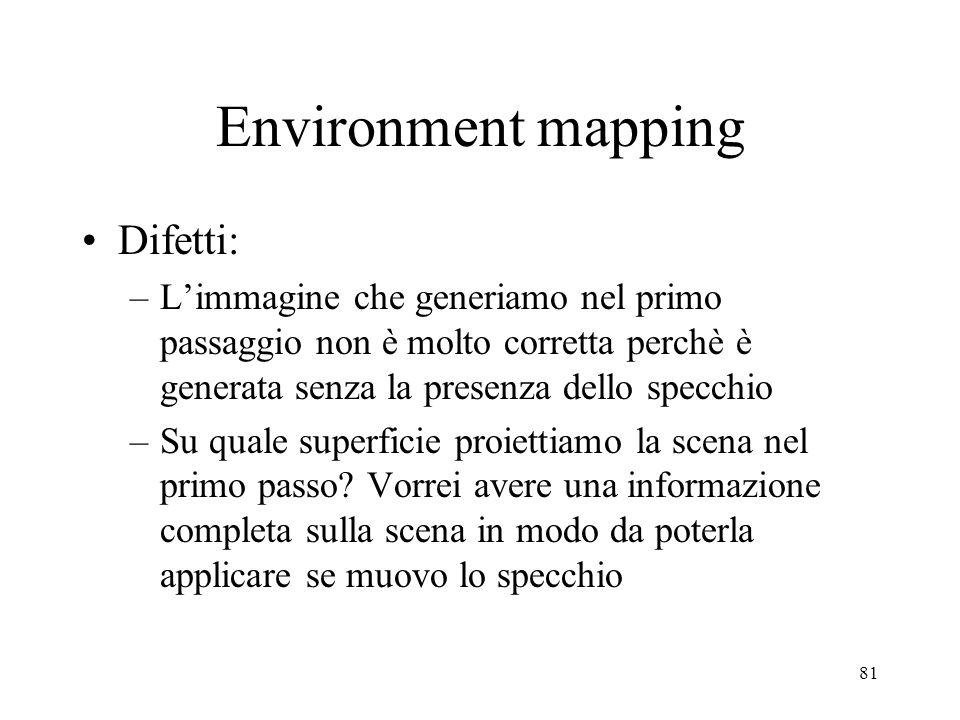 81 Environment mapping Difetti: –Limmagine che generiamo nel primo passaggio non è molto corretta perchè è generata senza la presenza dello specchio –