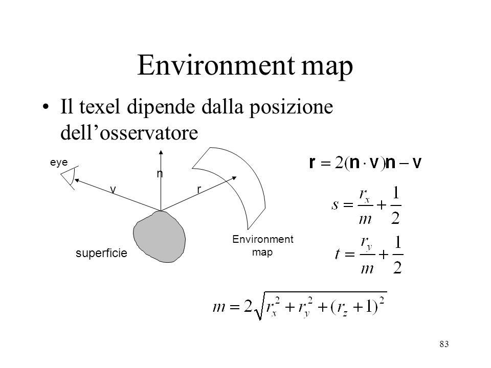 83 Environment map Il texel dipende dalla posizione dellosservatore superficie eye Environment map v n r