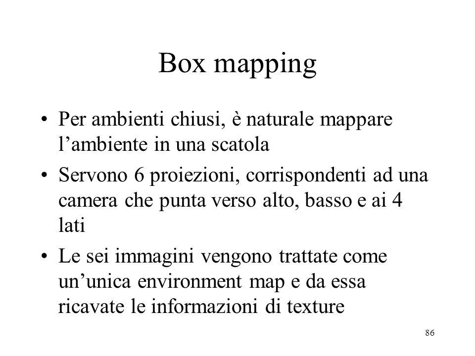 86 Box mapping Per ambienti chiusi, è naturale mappare lambiente in una scatola Servono 6 proiezioni, corrispondenti ad una camera che punta verso alt