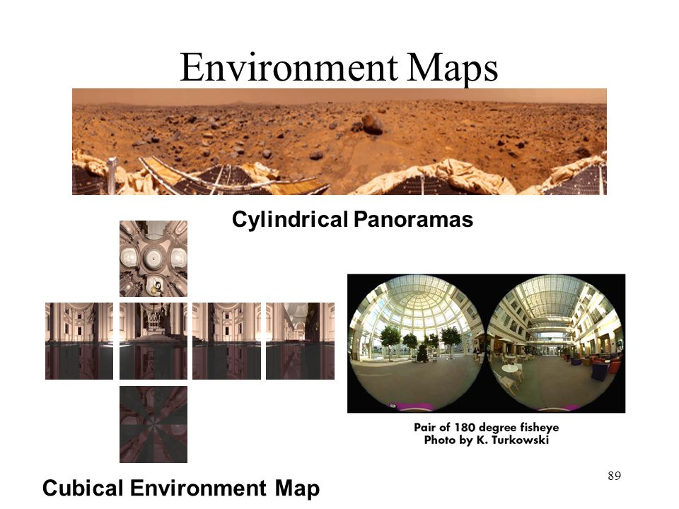 89 Environment Maps Cubical Environment Map Cylindrical Panoramas