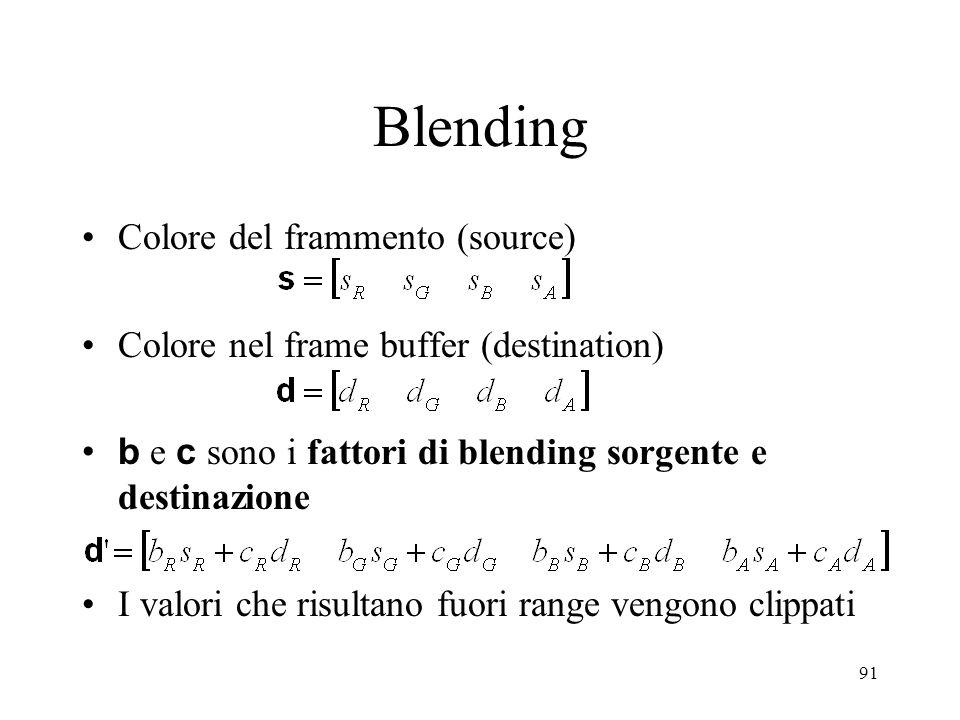 91 Blending Colore del frammento (source) Colore nel frame buffer (destination) b e c sono i fattori di blending sorgente e destinazione I valori che