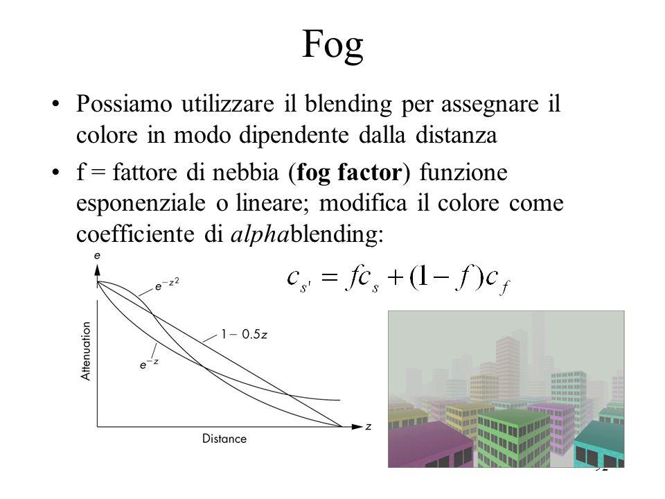 92 Fog Possiamo utilizzare il blending per assegnare il colore in modo dipendente dalla distanza f = fattore di nebbia (fog factor) funzione esponenzi