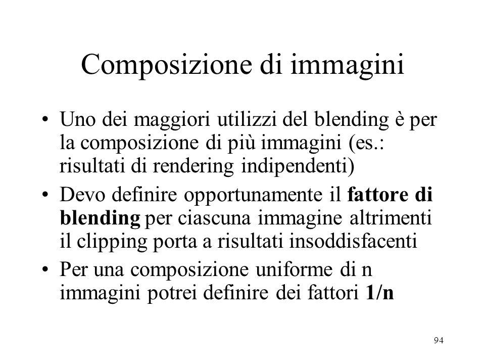 94 Composizione di immagini Uno dei maggiori utilizzi del blending è per la composizione di più immagini (es.: risultati di rendering indipendenti) De