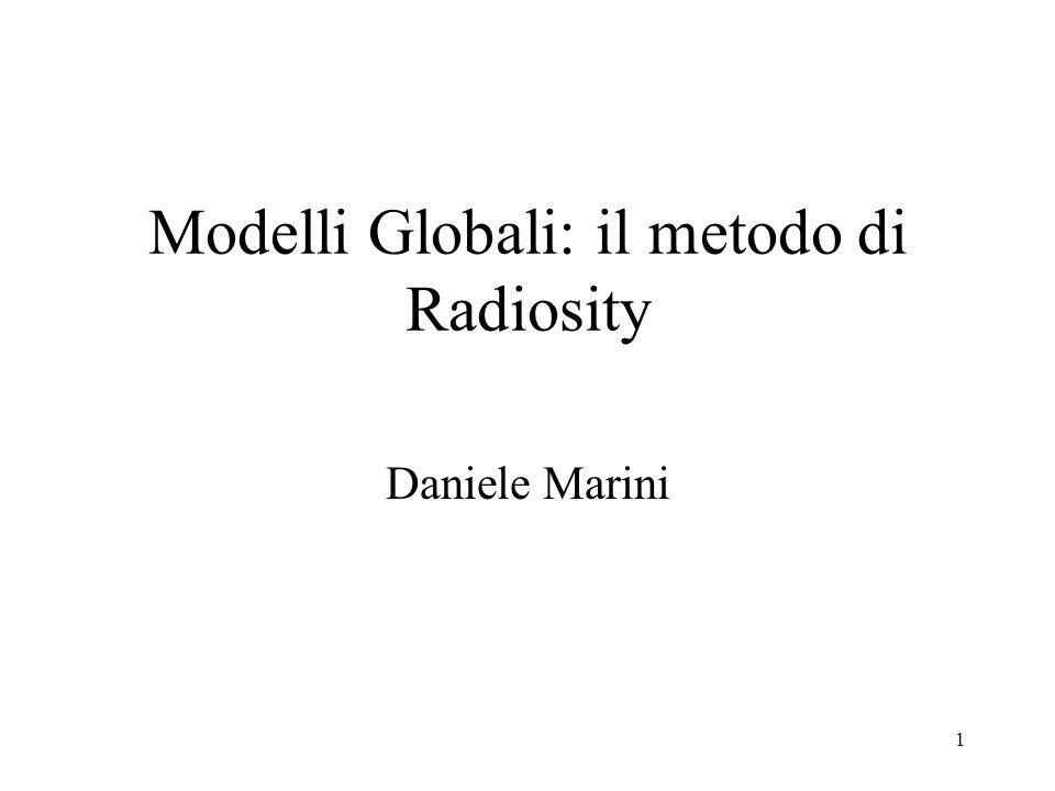 12 Radiosity Abbiamo definito luscita radiante (detta anche radiosity) [Watt/m 2 ] come lenergia per unità di tempo che lascia una superficie (in tutte le direzioni)