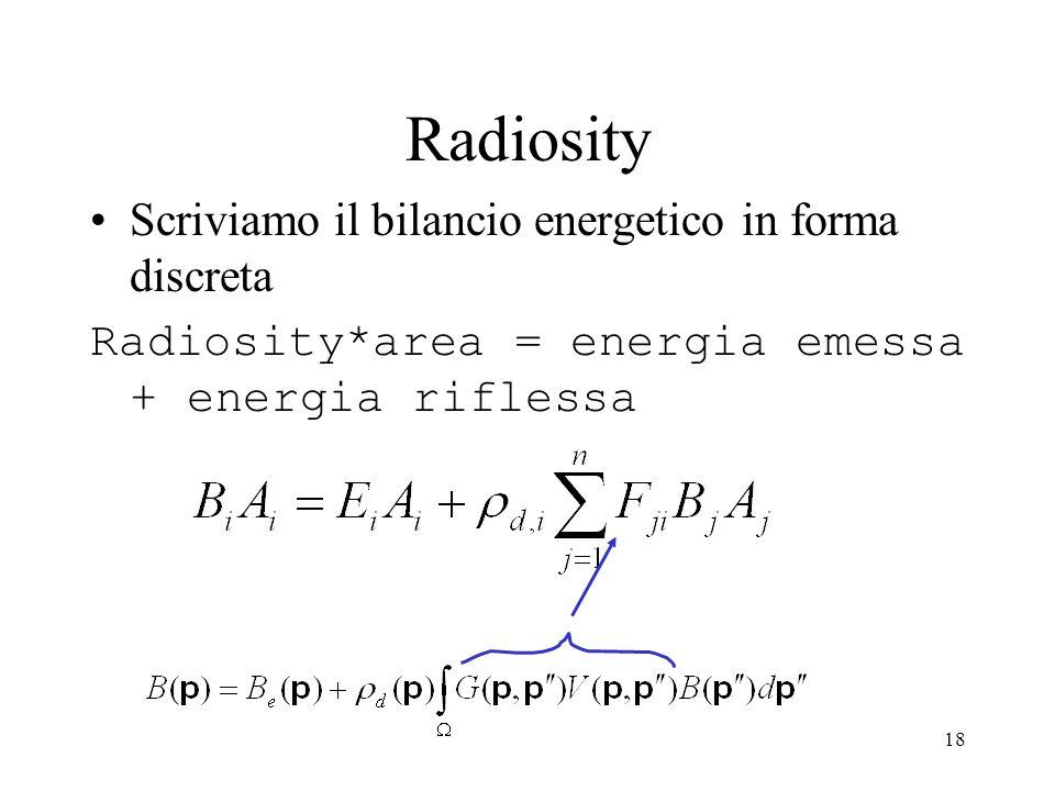 18 Radiosity Scriviamo il bilancio energetico in forma discreta Radiosity*area = energia emessa + energia riflessa