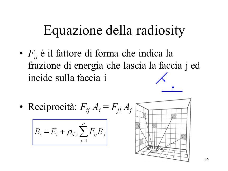 19 Equazione della radiosity F ij è il fattore di forma che indica la frazione di energia che lascia la faccia j ed incide sulla faccia i Reciprocità: