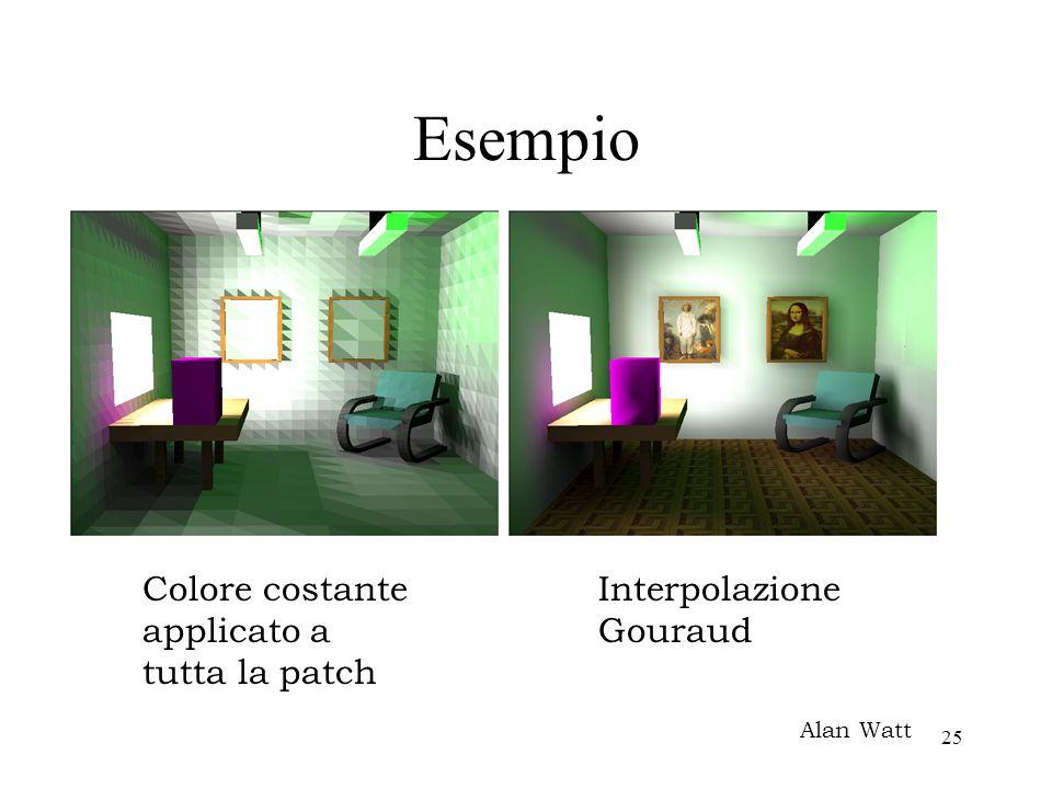 25 Esempio Alan Watt Colore costante applicato a tutta la patch Interpolazione Gouraud