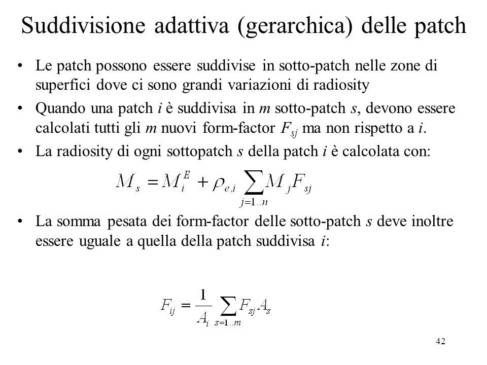 42 Suddivisione adattiva (gerarchica) delle patch Le patch possono essere suddivise in sotto-patch nelle zone di superfici dove ci sono grandi variazi