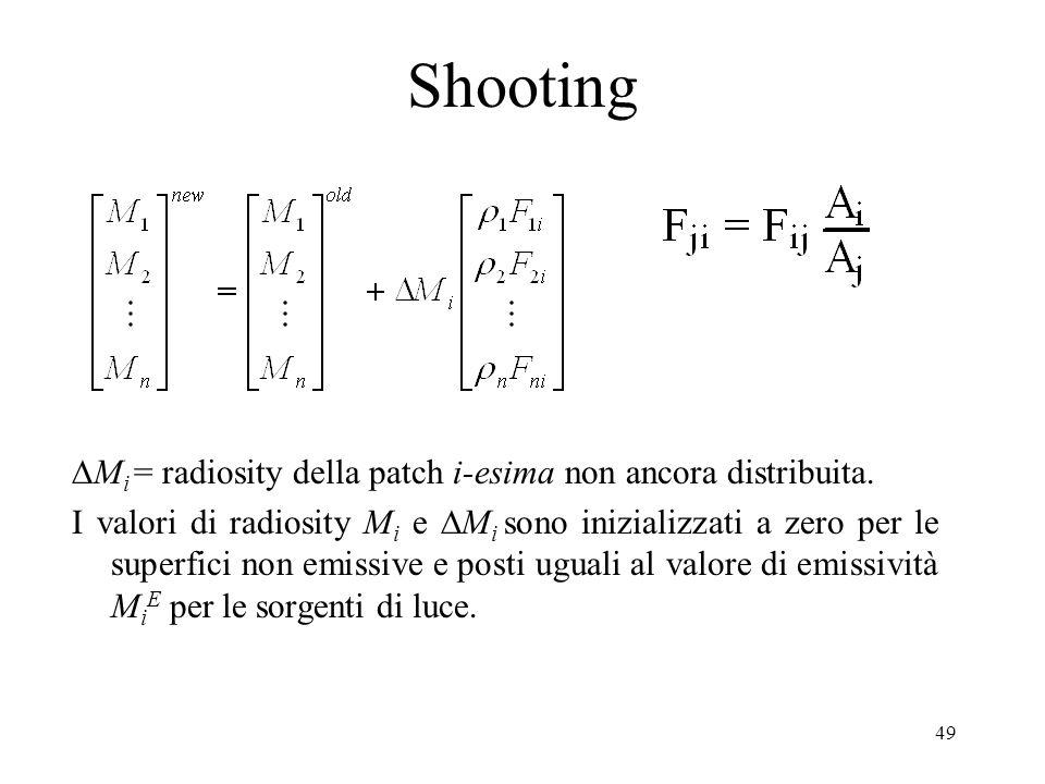 49 Shooting M i = radiosity della patch i-esima non ancora distribuita. I valori di radiosity M i e M i sono inizializzati a zero per le superfici non