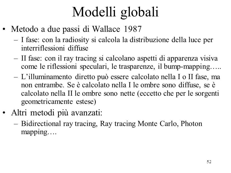 52 Modelli globali Metodo a due passi di Wallace 1987 –I fase: con la radiosity si calcola la distribuzione della luce per interriflessioni diffuse –I