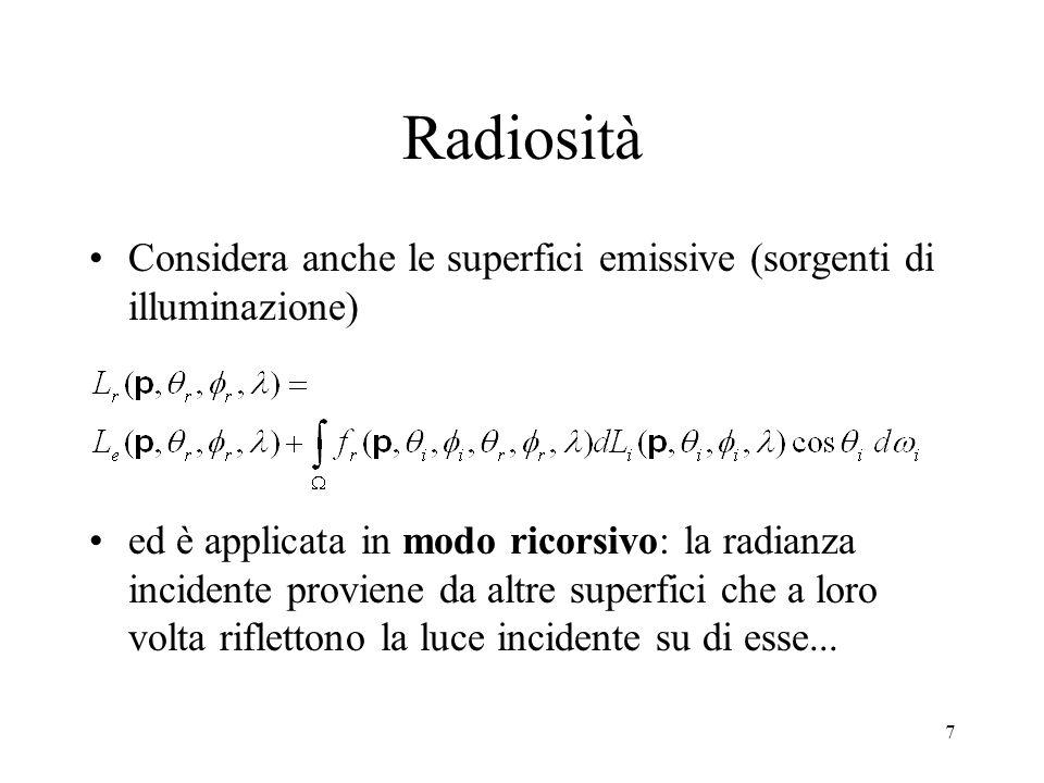 7 Radiosità Considera anche le superfici emissive (sorgenti di illuminazione) ed è applicata in modo ricorsivo: la radianza incidente proviene da altr