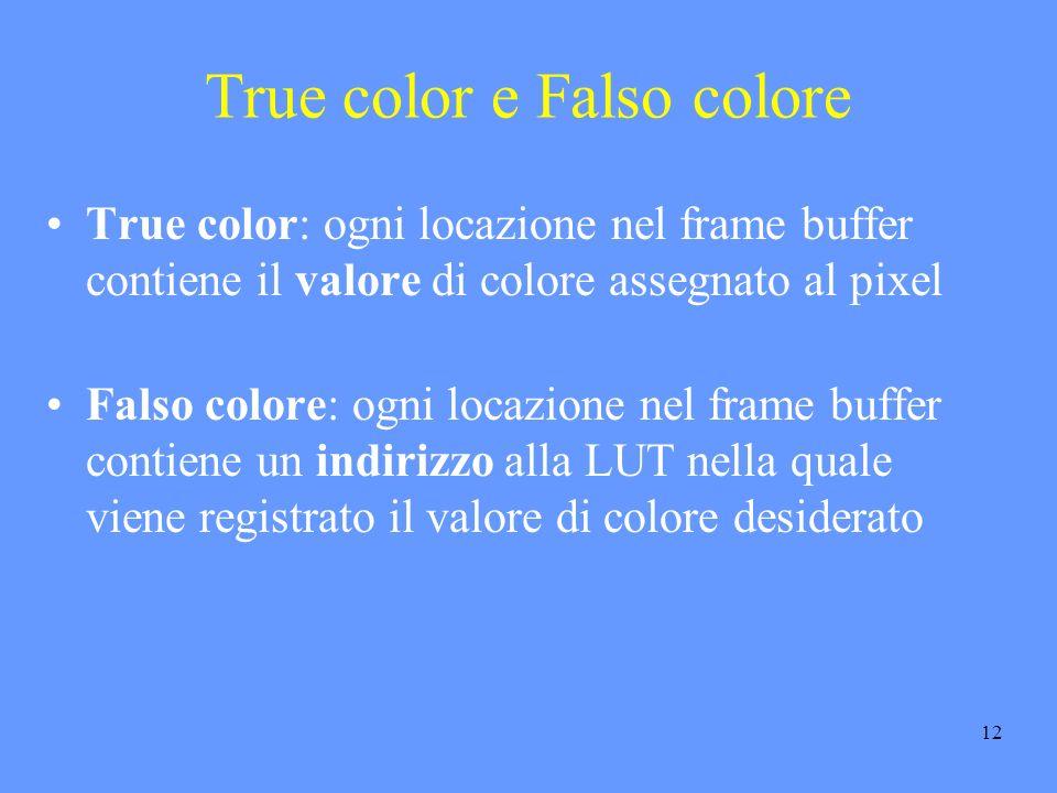 12 True color e Falso colore True color: ogni locazione nel frame buffer contiene il valore di colore assegnato al pixel Falso colore: ogni locazione nel frame buffer contiene un indirizzo alla LUT nella quale viene registrato il valore di colore desiderato