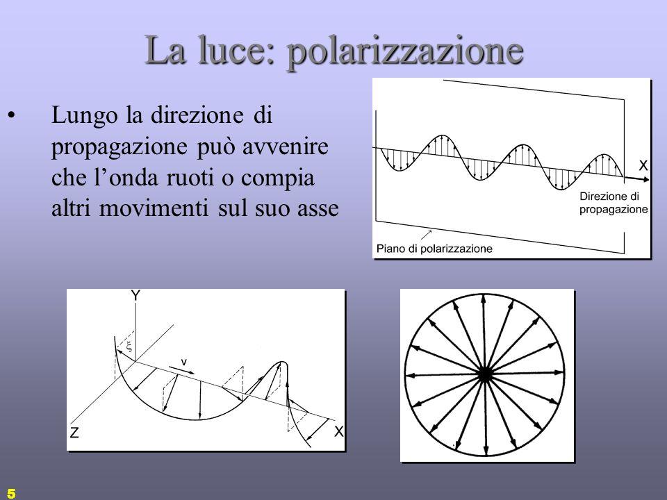 5 La luce: polarizzazione Lungo la direzione di propagazione può avvenire che londa ruoti o compia altri movimenti sul suo asse