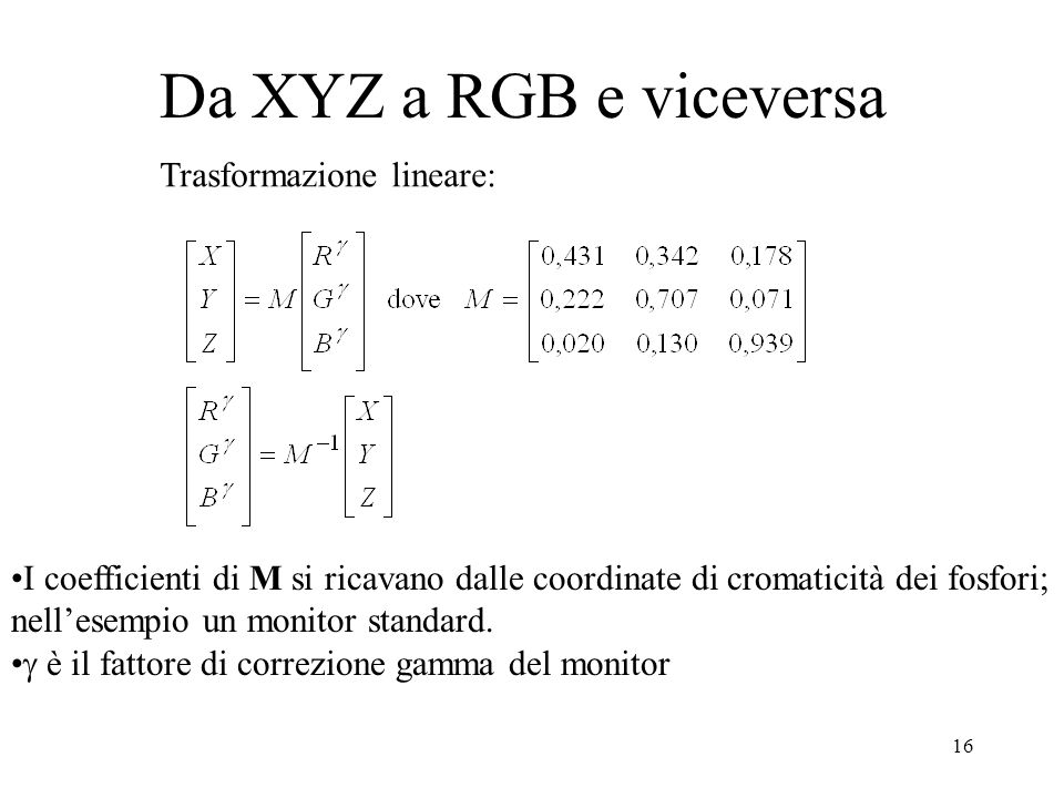 15 Da X Y Z a R G B R G BI valori di tristimolo R G B dei fosfori del monitor usati in computer grafica sono una trasformazione lineare dei valori X Y