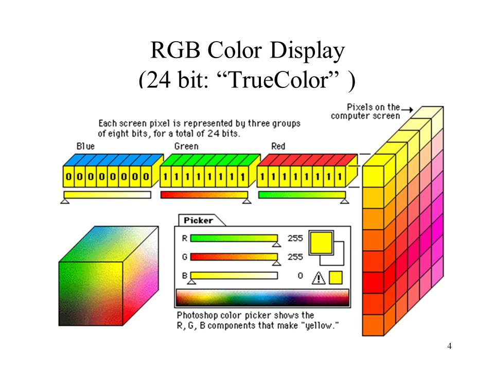 3 Quanti colori? BitNumero di colori 12 1 2 22 2 4 32 3 8 42 4 16 52 5 32 62 6 64 72 7 128 82 8 256 162 16 65.536 (16 bit True Color) 242 24 16.777.21