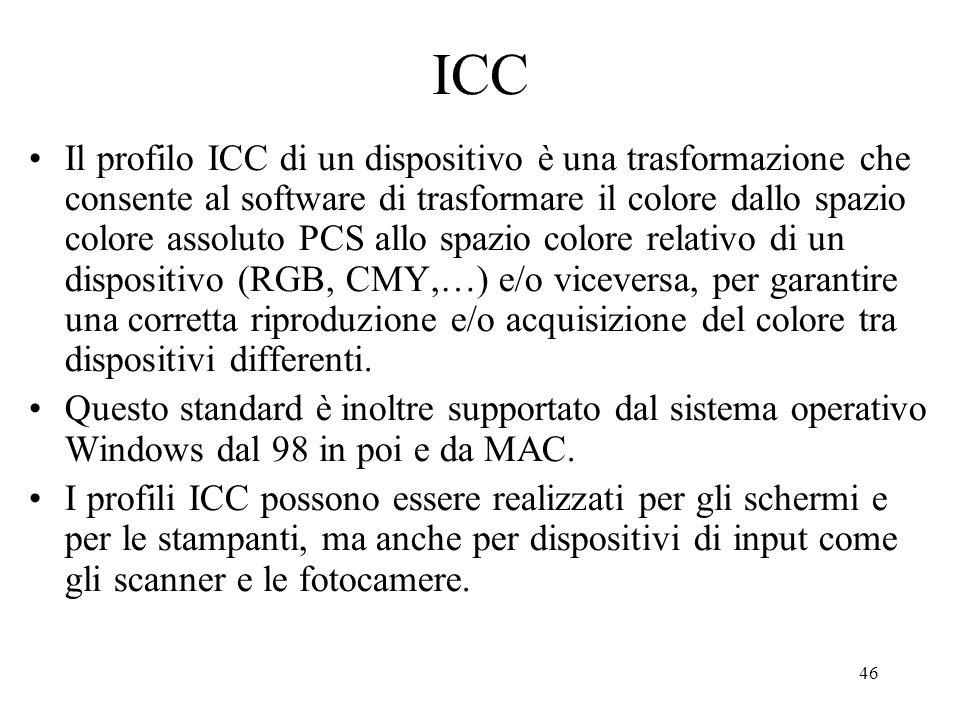45 Uno standard per il trattamento del colore digitale: ICC http://www.color.org/ (International Color Consortium)http://www.color.org/ Secondo questo