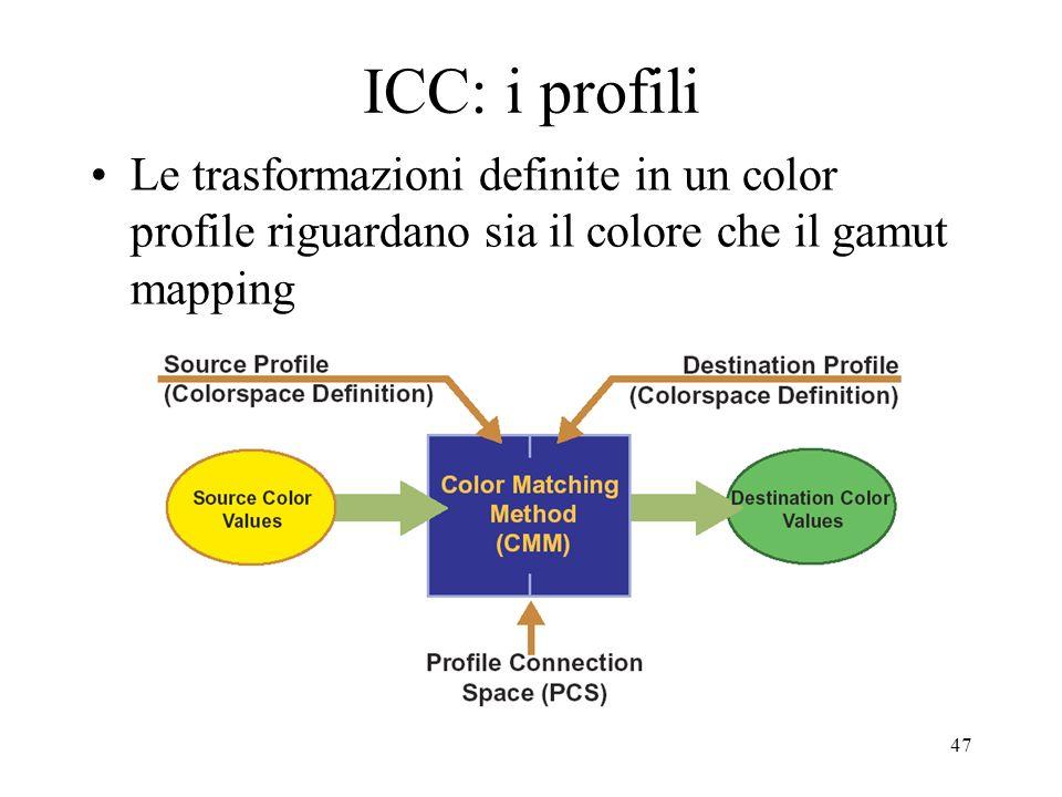 46 ICC Il profilo ICC di un dispositivo è una trasformazione che consente al software di trasformare il colore dallo spazio colore assoluto PCS allo s