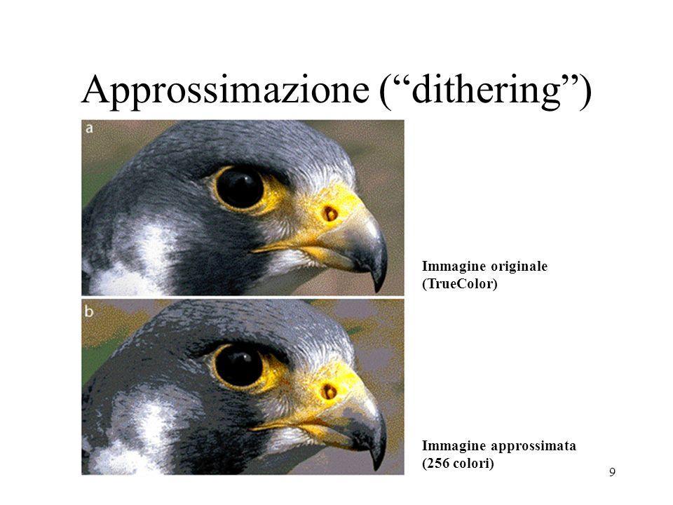9 Approssimazione (dithering) Immagine originale (TrueColor) Immagine approssimata (256 colori)