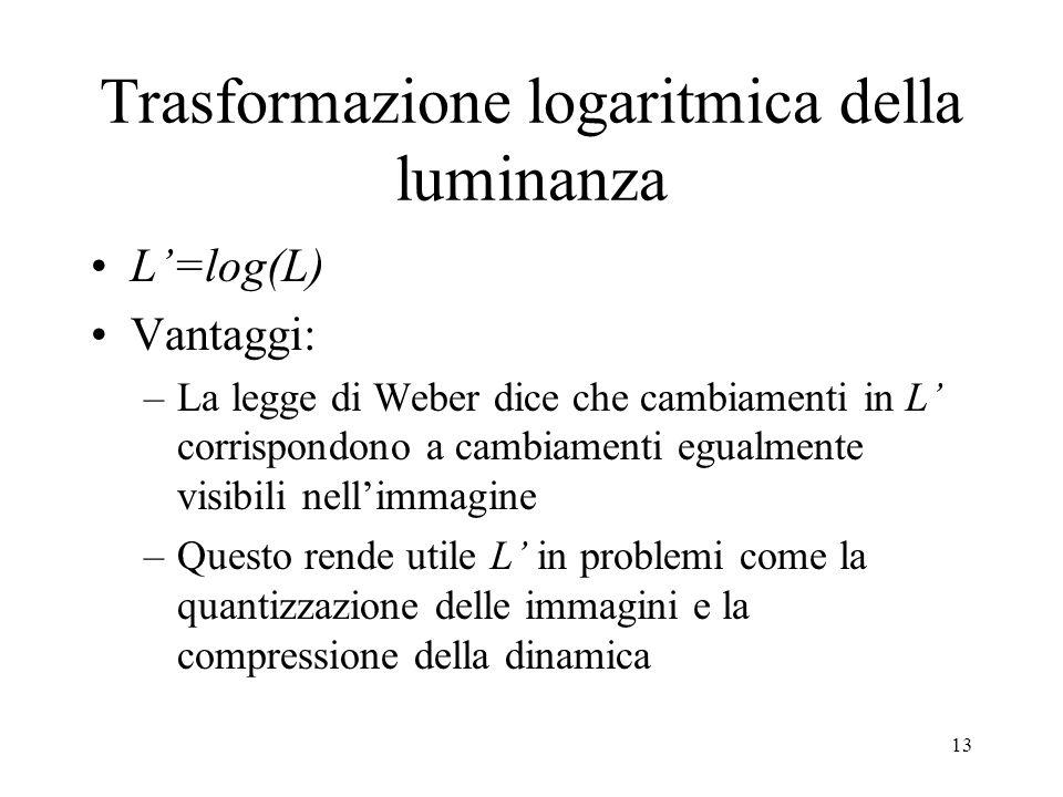 12 Risposta parziale Definiamo L= log(L) allora: Allora cambiamenti in L (logaritmo della luminanza) sono proporzionali a cambiamenti di contrasto: Notare che questa non è una funzione della luminanza dello sfondo L b