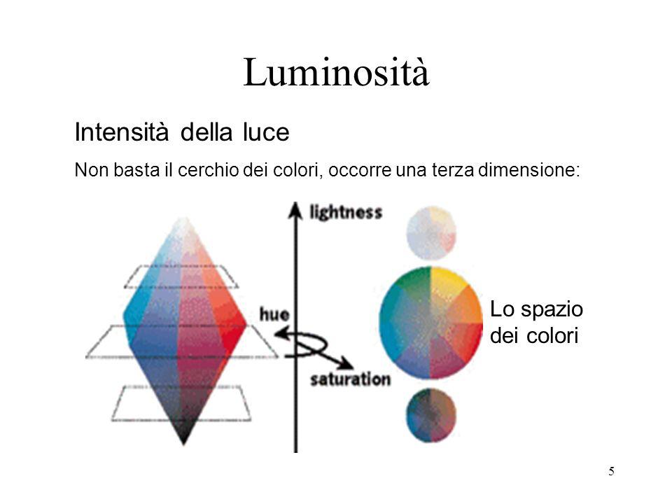4 Saturazione Quantità di tinta pura che deve essere mescolata al bianco per produrre il colore percepito Non basta la ruota dei colori, occorre una seconda dimensione: il grigio/bianco è al centro